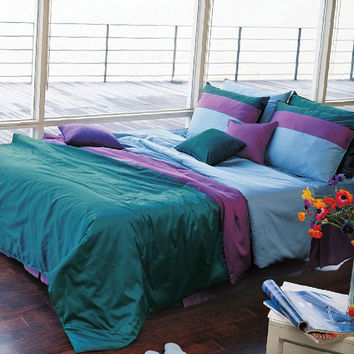 1100TC High Quality Sateen Solid Turquoise & Purple Queen Duvet Cover Set