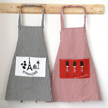 1PC Fashion Linen Stripe Apron with 2 Pockets Cafe Waiter Kitchen Cook New Tool Kitchen Apron New Hot Sale C5