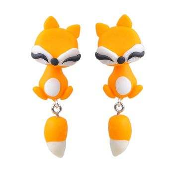 Handmade Cute Lovely Fox Cats  Earrings With tail polymer Clay Stud Earrings Women ear Jewelry Animal Earrings
