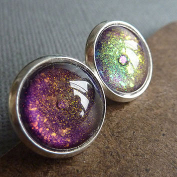 Purple Glitter Post Earrings, Colour Shifting Glitter