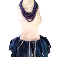 Denim tutu skirt, punk rock blue denim upcycled skirt design, each one unique and one of a kind by Felicianation Ink