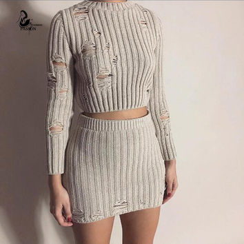 Autumn Winter O-neck  Hollow out Kintted Office Dress Sexy Party Mini 2 pieces outfits Dresses Women Bodycon Vestido