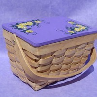 Wicker Basket With Yellow Flowers