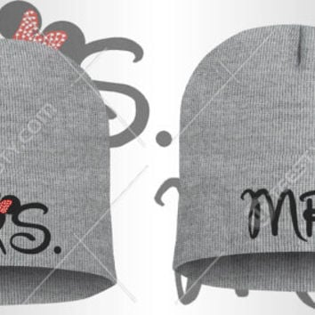 e5e14959b7d6a Mr Mrs Mickey Minnie Mouse Beanie Beanies Winter Hats Couple Beanies  Matching Beanies Relationship Love Couple