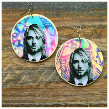 Kurt Cobain large wooden earrings