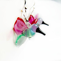 Hummingbirds, Glass Hummingbird, Glass Lampwork Hummingbird, Hummingbird jewelry, hummingbird earrings, nature jewelry, bird earrings