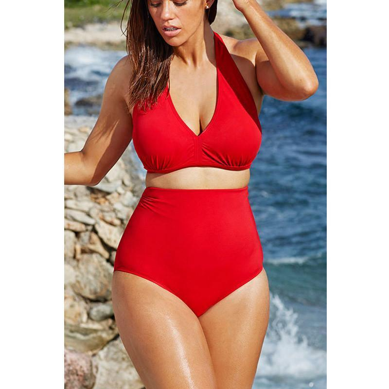 546e7a23530 Plus Size Bikini Set Women Ladies Sexy Retro Padded Push Up High Waist  Swimwear Swimsu