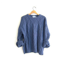 vintage blue cotton sweater. oversized sweater. chunky pullover knit sweater. size L