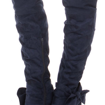 Navy Faux Suede Tall Slouch Boot with Bow Detail