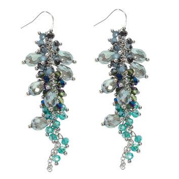 Dangling Teal Beads Earrings