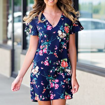 * Walk Me Down The Isle Floral Shift Dress : Navy