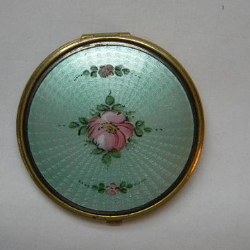 Vintage Rouge and Powder Green Guilloche Compact