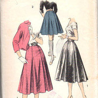 Advance Sewing Pattern 8088 Box Pleat Full Flared Skirt Knee Calf Length 50s Rockabilly Retro Style Six Gore Wasit 28