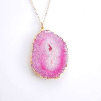 Pink Solar Quartz Stalactite Necklace - OOAK