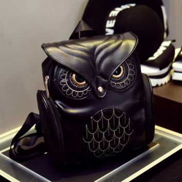 Black Leather Owl Design Backpack Casual Bag