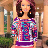 Barbie Doll Clothes - Tunic Top and Pant Set with Earrings and Shoes