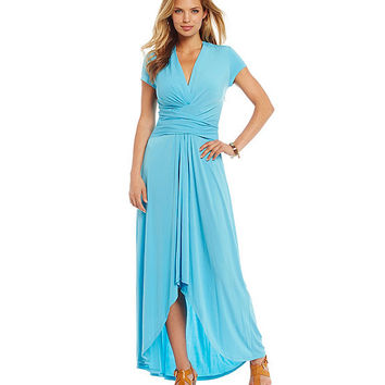 MICHAEL Michael Kors Hi-Low Matte Jersey Maxi Wrap Dress | Dillards