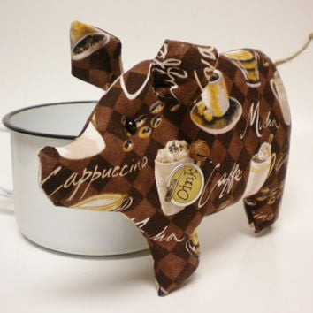 Coffee Lovers Pig, Decorative Pigs, Primitive Country Decor