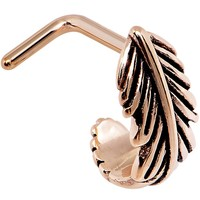 """18 Gauge 5/16"""" Rose Gold PVD Feather Faux Hoop L Shaped Nose Ring"""