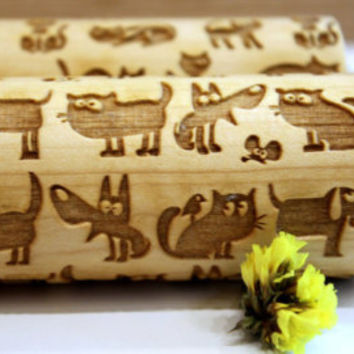 Funny CAT & DOG Embossing Engraved  Rolling Pin, Pattern Roller, Embossed Dough Roller, Dough Roller, Laser Engraved, Big Size