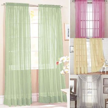 European Fashion Door Window Curtains Multi-Styles Drape Panel or Scarf Assorted Scarf Sheer Voile Curtains For Living Room