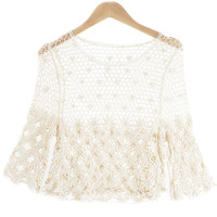 Cut Out Knitted Sleeveless Blouse