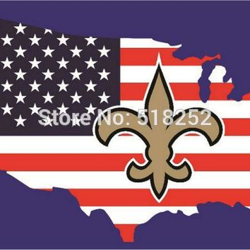 New Orleans Saints with American map Flag  3x5 FT 150X90CM NFL Banner 100D Polyester Custom flag grommets 6038, free shipping