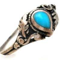 Vintage Sterling Silver Turquoise Midi Ring Size 4.5