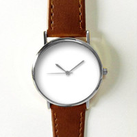 Minimalist Watch White Men's  Women Watches Leather Unique Jewelry Accessories Handmade  Boyfriend Gift Idea  Unique Custom Ladies Simple