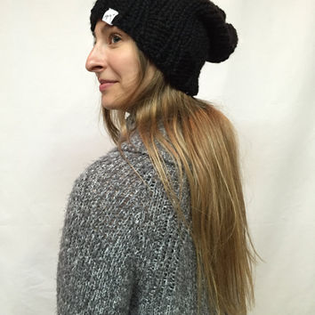 Knit Slouchy Hat Beanie Black Warm And Cozy