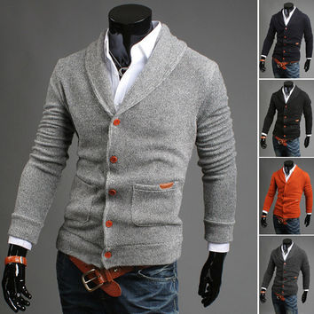 Mens Collared Button-Up Sweater