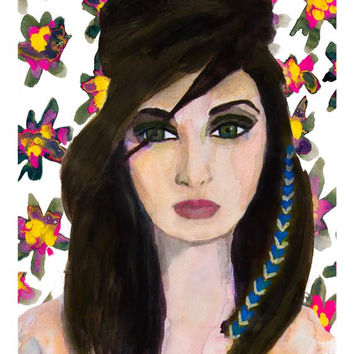 Floral Gaze Giclee Print from Original Watercolor Fashion Portrait Artwork
