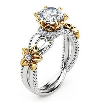 Beautiful Yellow Gem Rose Sunflower Hollow Design Flower Wedding Ring