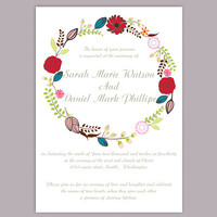DIY Wedding Invitation Template Editable Word File Download Printable Invitation Wreath Wedding Invitation Colorful Floral Invitation