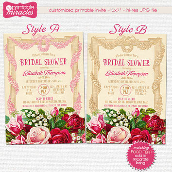 Vintage bridal shower invitation, Rustic floral bridal party invite, Printable floral invitation, Shabby chic invitation, romantic, elegant