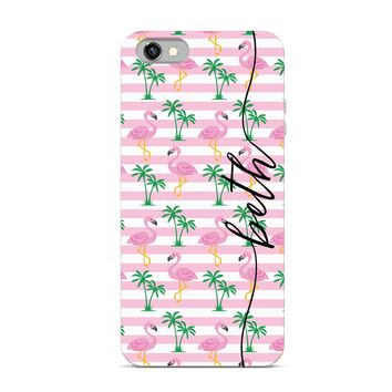 Preppy Collection - Monogrammed Personalized Cell Phone - Flamingo Palm Trees Stripes Name Monogram Style - iPhone Case