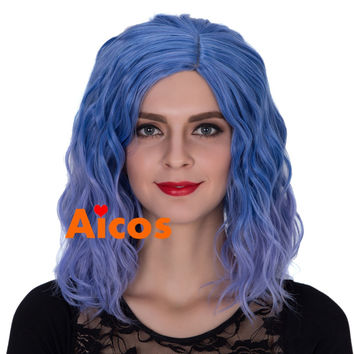 Pastel Lavender blue wig,Beach wave hairstyle Short Cosplay wig