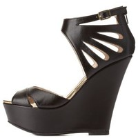 Black Cut-Out Peep Toe Wedge Sandals by Charlotte Russe