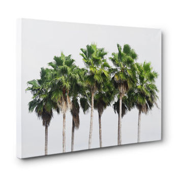 Sand Key Palms - Canvas Wall Art, Beach Tropical Green Palm Trees Landscape, Surf Style Interior Hanging. In 8x10 11x14 16x20 20x24 24x36