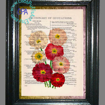 Botanical Flowers - - Vintage Dictionary Book Page Art-Upcycled Page Art,Wall Art,Collage Art
