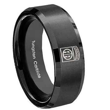 10MM Black Brush Beveled Edges Army Airborn Tungsten Carbide Men's Ring