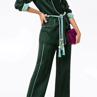 Woman On A Mission Satin Long Sleeve Blazer Jacket Tassel Belt Wide Leg Loose Two Piece Jumpsuit - 2 Colors Available
