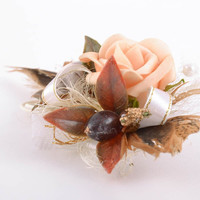 Handmade decorative blank for hair clip or brooch for jewelry creation Rose