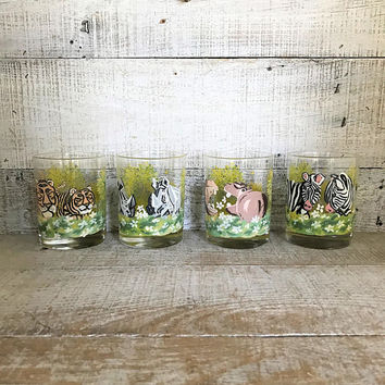 Lowball Glasses Animal Drinking Glasses Set of 4 Hand Painted Glasses Mid Century Animal Cocktail Glasses Juice Glasses African Animals