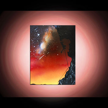 Rock Climber Silhouette Art - Original Painting - Spray Paint Art - Painting on Canvas - Desert Sky - Stars - Sunset - Landscape Painting