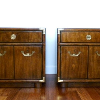 Pair of Campaign Drexel Accolade II Vintage Chests Nightstands