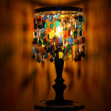 One-Of-A-Kind, Colorful, Stained Glass and Metal Table Lamp, Pfun With Color