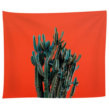 Cactus on Red Tapestry