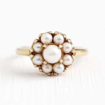 Vintage Pearl Ring - 10k Rosy Yellow Gold Cultured Pearl White Gemstones Cluster - Retro Size 6 1/2 Retro June Birthstone Halo Fine Jewelry