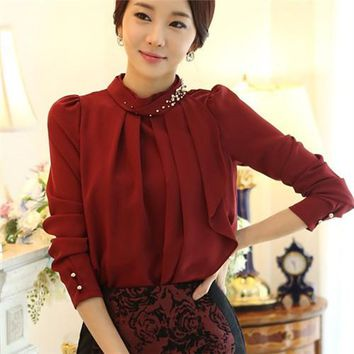 Neck With Beads Women Chiffon Blouse Elegant Long Sleeve Solid Blouse